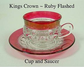 Tiffin U.S. Glass Indiana King's Crown Cup and Saucer