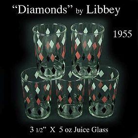 Libbey Swanky Size Tumblers ~ Diamonds Pattern