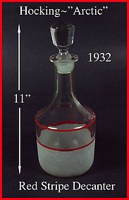 Hocking ~ 1932 ~ Arctic 2pc Red Stripe Decanter