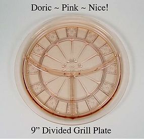 "Jeannette ~ Doric Pink ~ 9 1/2"" Divided Grill Plate"