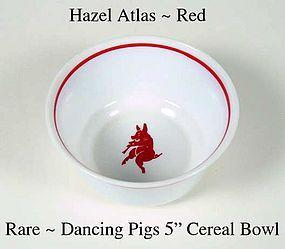 "Hazel Atlas Rare Childs Dancing Pigs 5"" Cereal Bowl"