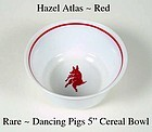 "Hazel Atlas Rare Childs Dancing Pigs 5"" Cereal Bowl"
