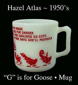 Hazel Atlas G is for Goose Alphabet Mug-1950s