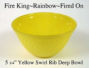 Fire King Rainbow Primary Color Yellow Swirl Rib Bowl