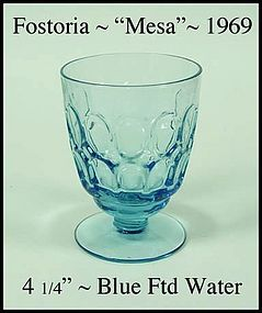 Fostoria Glass ~ Mesa ~ Blue ~ 9 oz Footed Water