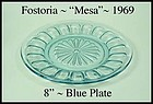 Fostoria Glass ~ Mesa ~ Blue ~ 8 inch Luncheon Plate
