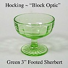 Hocking Glass ~ Block Optic Green Footed Sherbert 1930s