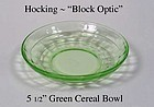 Hocking Glass ~ Block Optic Green Low Cereal Bowl-1930s