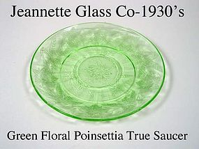 Jeannette Floral Poinsettia Green Cup Ring Saucer
