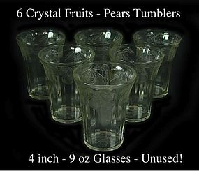 "Hazel Atlas Crystal ""Fruits"" 4 inch 9oz Tumbler W/Pears"