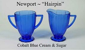 "Hazel Atlas Newport ""Hairpin"" Cobalt Cream and Sugar"