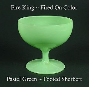 Fire King Fired On Color ~ Pastel Green Footed Sherbert