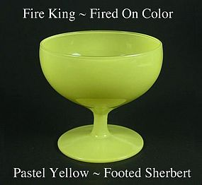 Fire King Fired On Color~Pastel Yellow Footed Sherbert