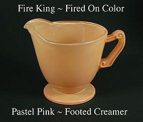 Fire King Fired On Color ~ Pastel Pink Footed Creamer