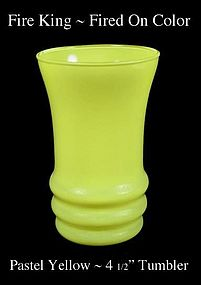 Fire King Fired On Color ~ Pastel Yellow Water Tumbler
