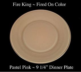 Fire King Fired On Color ~ Pastel Pink Dinner Plate