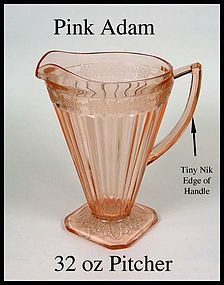 Jeannette Glass ~ Pink Adam ~ 32oz Square Foot Pitcher