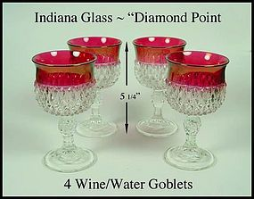 Indiana ~ Diamond Point ~ Ruby Flashed ~ 4 Goblets