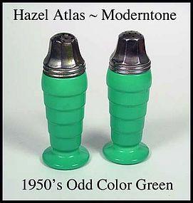 Hazel Atlas Fired On Moderntone 50's Odd Green Shakers