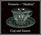 "Fostoria Glass Co. ~ 1950's ~ ""Heather"" Cup and Saucer"