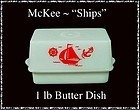"McKee Glass ""Ships"" Red 1 lb Butter Dish and Cover"