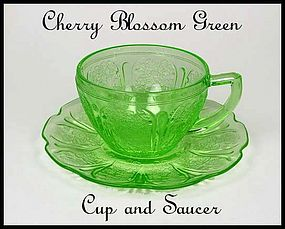 Jeannette  ~ Cherry Blossom Green~Cup and Saucer