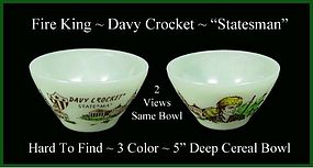 Fire King Davy Crockett HTF 3 Color Statesman Bowl