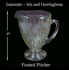 "Iris and Herringbone Crystal 9 1/2"" Footed Pitcher"