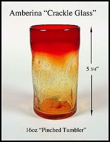 Pilgrim Crackle Amberina 16 oz Pinch Tumbler