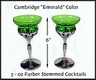 Cambridge Farber Tall 3oz Emerald Green Goblets-Nice!