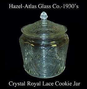 Hazel Atlas Royal Lace Crystal Cookie Jar and Cover