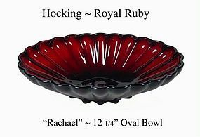 "Hocking Royal Ruby Rachael 12"" Oval Console Bowl"