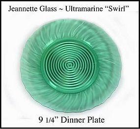 Jeannette ~ Ultramarine Swirl Dinner Plate ~ 1930's