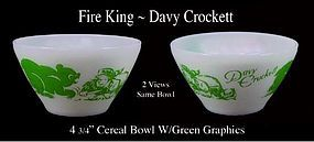 Fire King Davy Crockett Green Color Cottage Cheese Bowl