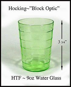 Hocking~Green Block Optic 9oz Flat Water Glass 1930's
