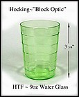 Hocking~Green Block Optic 9oz Flat Water Glass 1930's