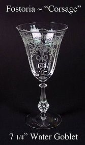 "Fostoria Glass Co~1930's~""Corsage"" Tall Water Goblet"