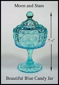 Moon and Stars L.E. Smith Tall Blue Covered Candy Jar