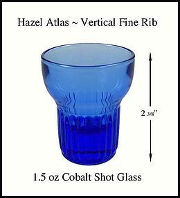 Hazel Atlas Deco Cobalt Fine Rib 1.5 oz Shot Glass