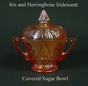 Jeannette ~ Iris and Herringbone Marigold Sugar & Lid