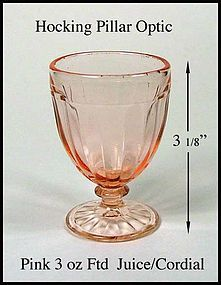 Hocking Pillar Optic Pink Footed Juice/Cordial Tumbler