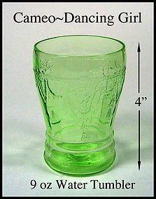 Hocking ~ Cameo Dancing Girl Green 9oz Water Tumbler