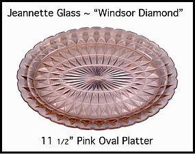 """Jeannette ~ Windsor Pink 11 1/2"""" Oval Platter~1930's"""