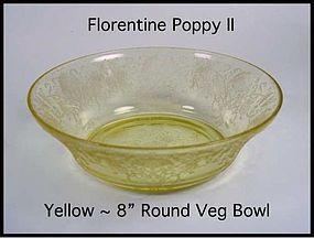 "Hazel Atlas Yellow Florentine Poppy II 8"" Bowl"