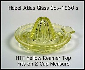 Hazel Atlas Yellow Reamer Top For 2 C Measuring Juicer