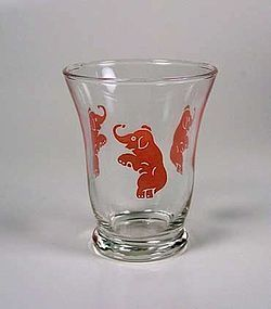 "Hazel Atlas Pink Elephants ""Jumbo"" Ftd Juice Glass"