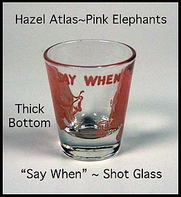 "Hazel Atlas Pink Elephant ""Thick Bottom"" Shot Glass 2oz"