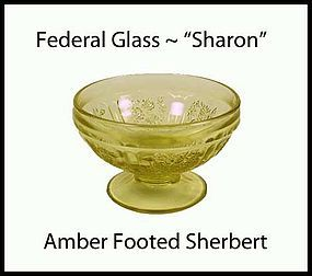 Federal Glass Sharon Cabbage Rose Amber Ftd Sherbert