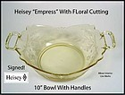 "Heisey Empress Sahara Lg 10"" 2 Handled Bowl W/Cutting"