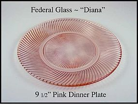 Federal Glass Diana Pink 9 1/2 inch Dinner Plate